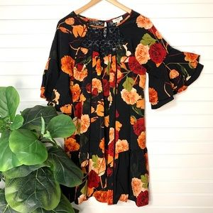 Pretty Black Floral Dress with Lace Insert